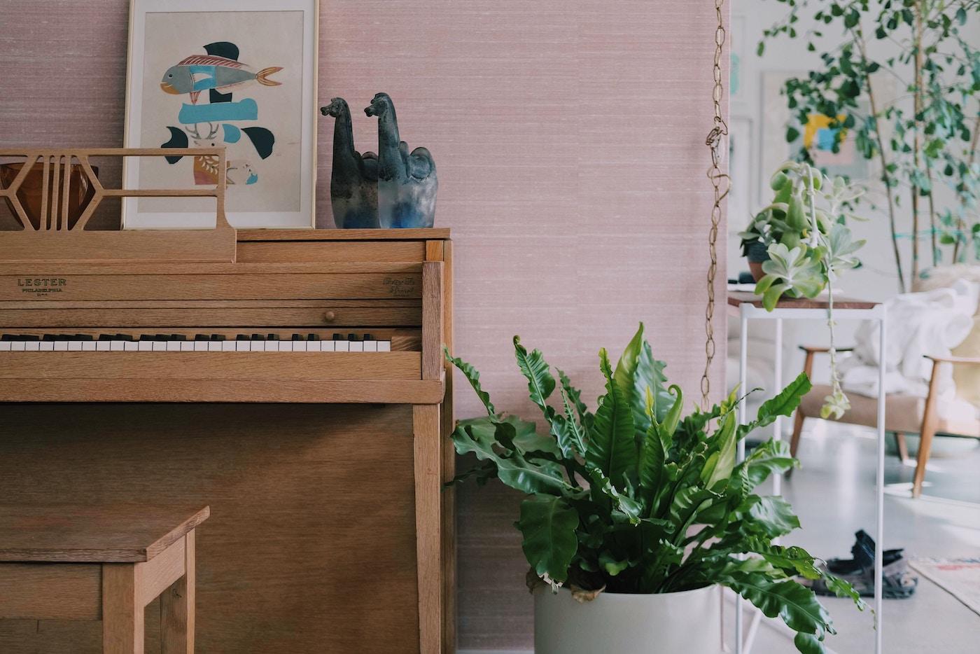 Music teaching room with piano